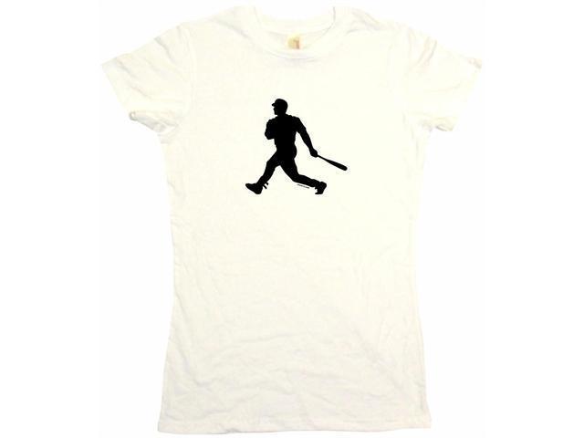 Baseball Batter Hitter Silhouette Logo Women's Babydoll Petite Fit Tee Shirt