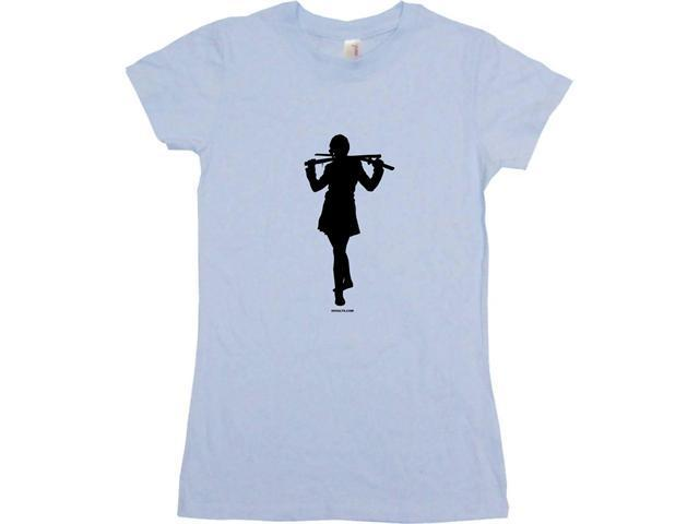 Ninja Girl With Sword Women's Babydoll Petite Fit Tee Shirt