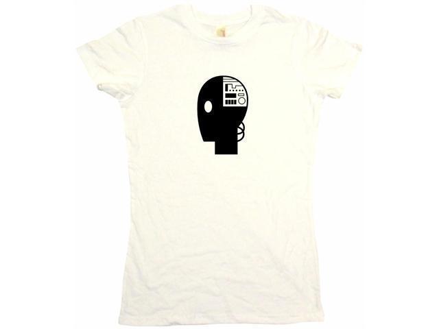Robot Head Logo Women's Babydoll Petite Fit Tee Shirt