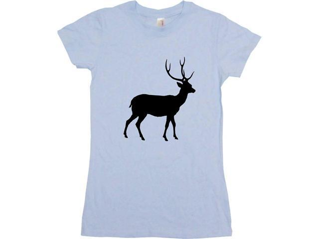Deer With Antlers Silhouette Logo Women's Babydoll Petite Fit Tee Shirt