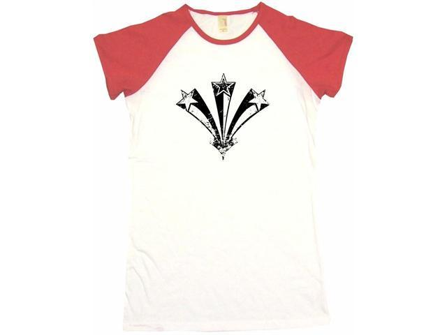 Distressed 3 Stars 70's Style Logo Women's Babydoll Petite Fit Tee Shirt
