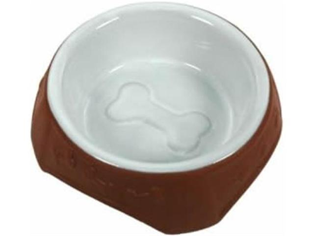 Vo-Toys Ceramic Terracotta n White Dog Dish 6 in