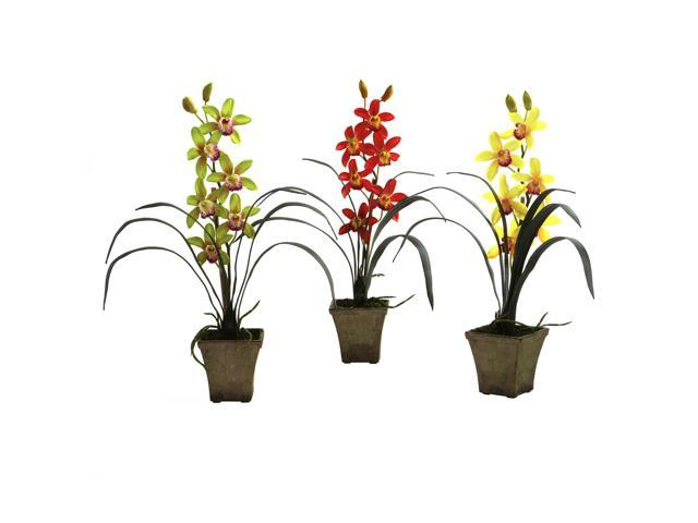 Nearly Natural Cymbidium Orchid w/Vase (Set of 3)