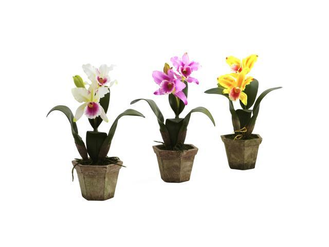 Nearly Natural Cattelya Orchid w/Vase (Set of 3)