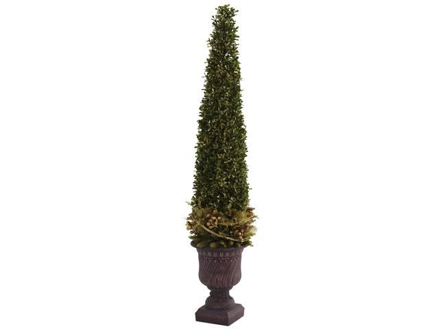 Nearly Natural Mixed Golden Boxwood & Holly Topiary w/Urn - 5368