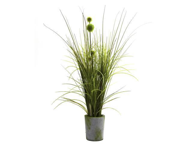 Nearly Natural Grass & Dandelion w/Cement Planter
