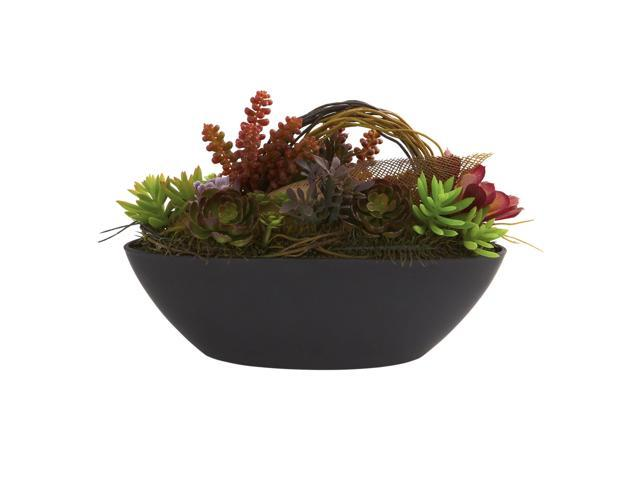 Nearly Natural Mixed Succulent w/Oval Black Container