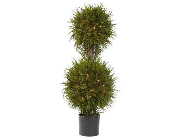 Nearly Natural 40 Cedar Double Ball Topiary w/Lights