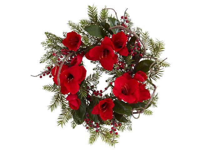 Nearly Natural 24 Amaryllis Wreath