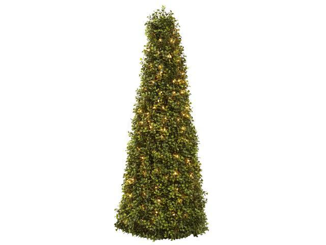 Nearly Natural 39 Boxwood Cone w/Lights