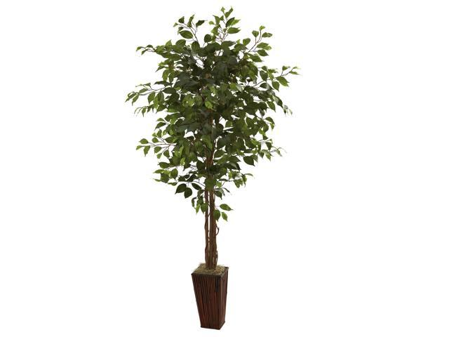 Nearly Natural 6 Ficus Tree w/Bamboo Planter