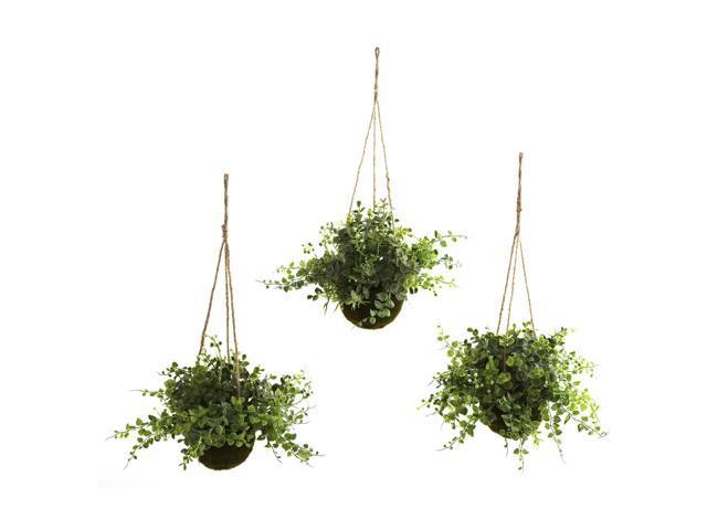 Nearly Natural Eucalyptus, Maiden Hair & Berry Hanging Basket (Set of 3)