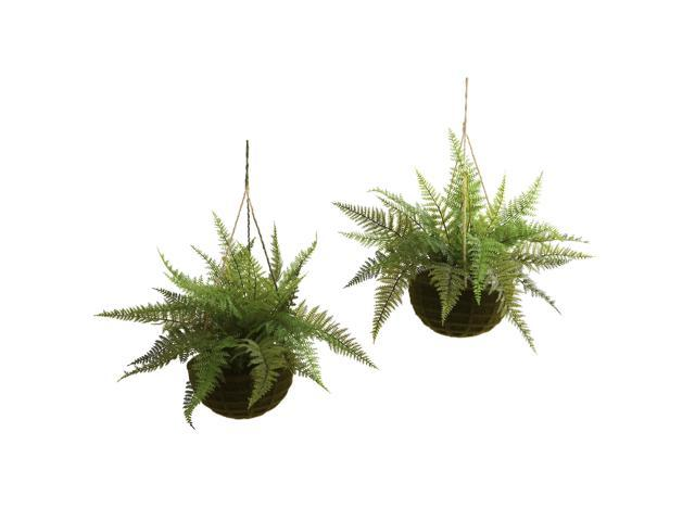 Nearly Natural Leather Fern w/Mossy Hanging Basket (Indoor/Outdoor) (Set of 2)