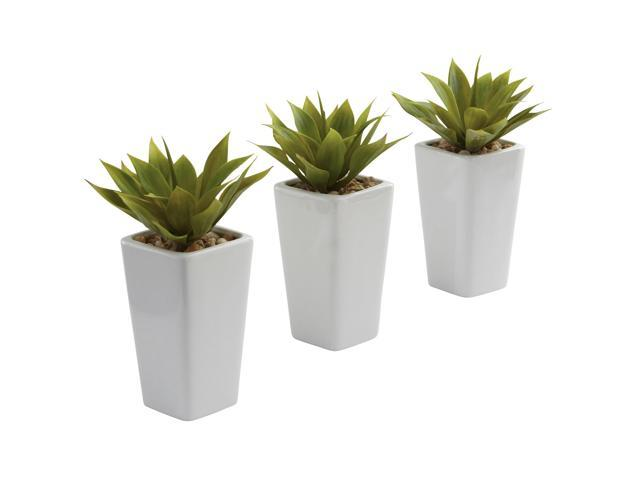 Nearly Natural Mini Agave w/ Planter (Set of 3) White