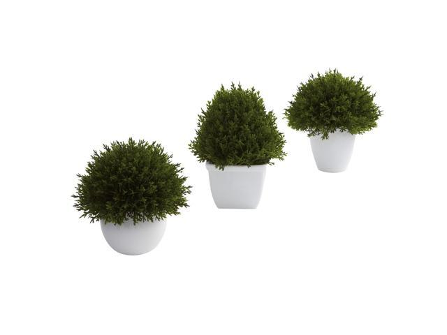 Nearly Natural Mixed Cedar Topiary Collection (Set of 3)