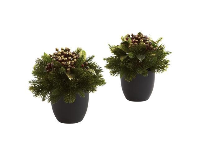 Nearly Natural Pine & Berries w/Black Planter (Set of 2)