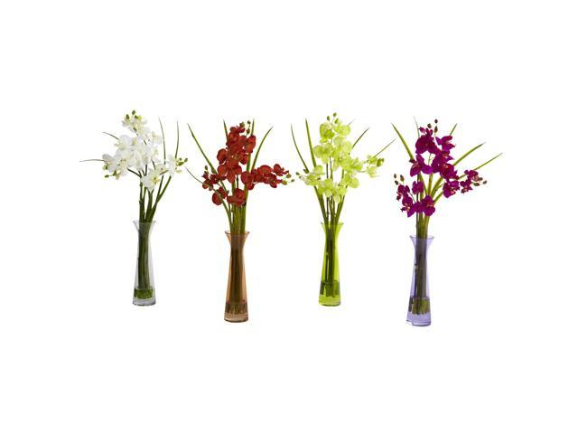 Nearly Natural Mini Phal w/Colored Vase (Set of 4)