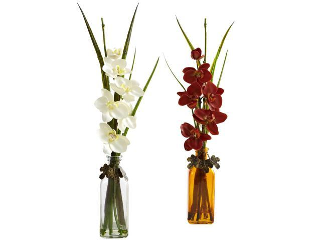 Nearly Natural Phalaenopsis w/Colored Jar (Set of 2)