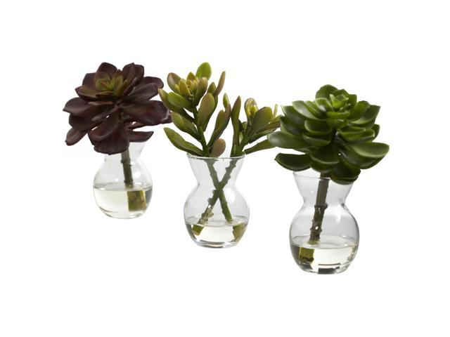Nearly Natural Succulent Arrangements (Set of 3)