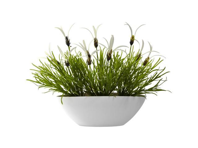 Nearly Natural Grass & White Floral w/White Planter (Indoor/Outdoor)