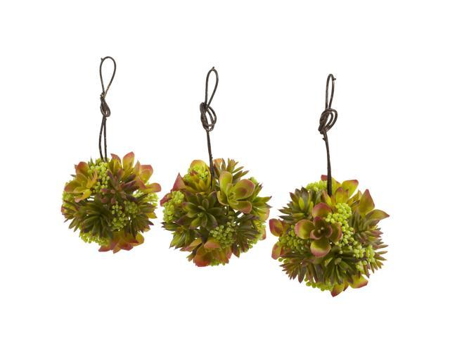 Nearly Natural 5 Mixed Succulent Hanging Ball (Set of 3)