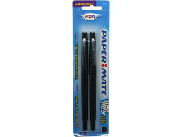 Paper Mate Flair Marker Pen with Medium Felt-Tip Point, Black Ink, 2 each