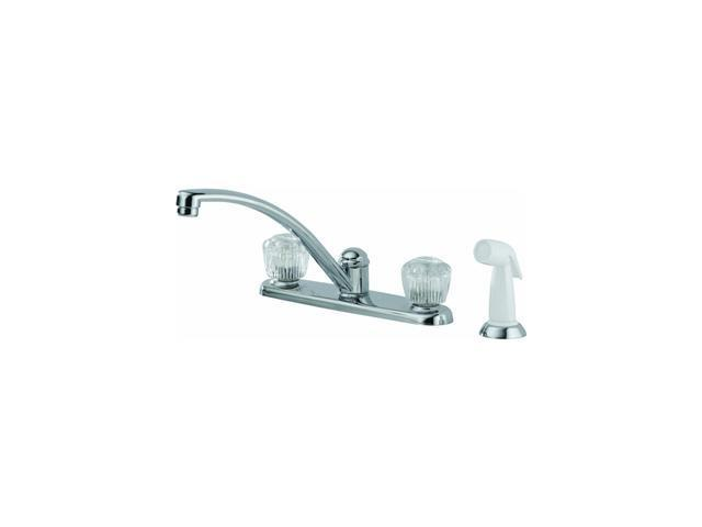 Delta Faucet 2402LF Classic Solid Brass 2-Knob Swing Kitchen Faucet, Chrome
