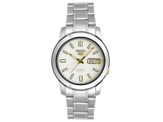 Seiko SNKK07 Mens Watch Seiko 5 Automatic Two Tone White Dial