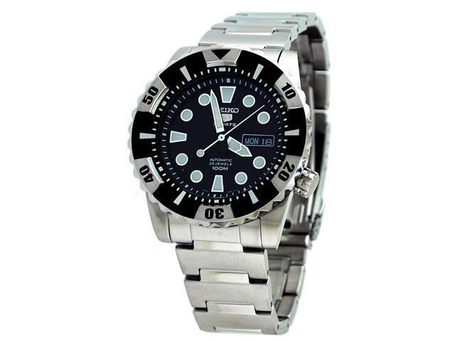 Seiko 5 Black Dial Stainless Steel Mens Watch SNZJ13
