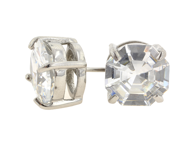 Pair of Stainless Steel Round CZ Standard Earrings: 20g 10mm