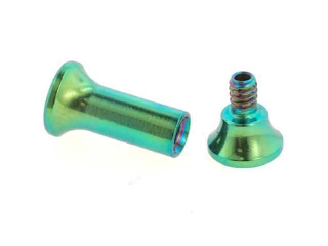 One PVD Stainless Steel Double Flared Threaded Flesh Tunnel: 8g, Green (SOLD INDIVIDUALLY. ORDER TWO FOR A PAIR.)