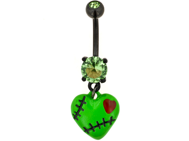 PVD Stainless Steel Gem Navel Barbell with Stitched Zombie Heart Dangle: 14g