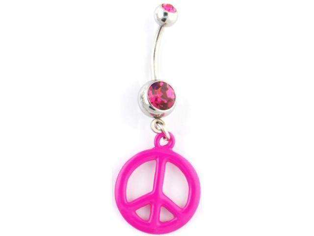 "Gem Navel Barbell - Peace Sign Dangle: 14g 3/8"" Fuchsia"