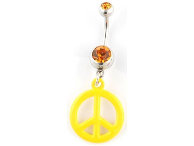 "Gem Navel Barbell - Peace Sign Dangle: 14g 3/8"" Yellow"