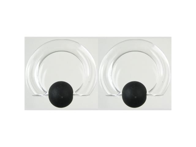 """Pair of Glass Tapered Captive Bead Rings with Rubber Bead: 00g 5/8"""" Crystal"""