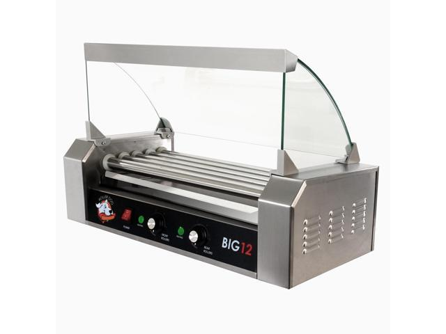 Roller Dog Commercial 12 Hot Dog 5 Roller Grill Cooker Machine - RDB12SS-KIT