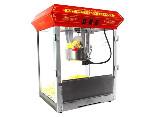 FunTime Carnival Style 8Oz Hot Oil Popcorn Machine - Red