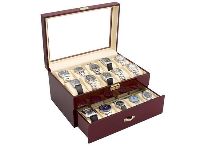 Rosewood Finish Watch Case Display Storage Box w/ Glass Top Holds 20 Watches