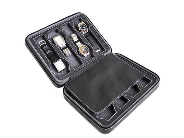 Black Soft Touch Quality Leatherette Compact Travel Watch Case Holds 8 Watches