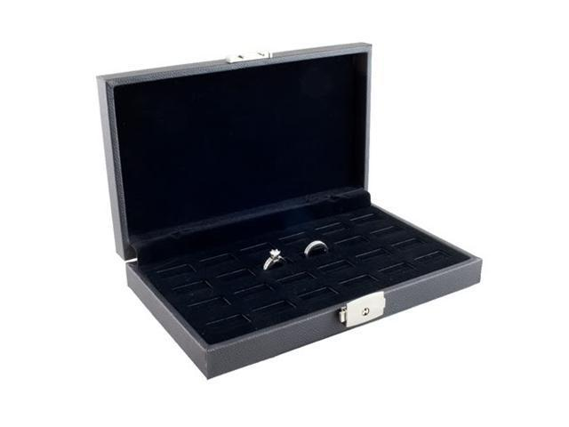 Wide Slot Jewelry Ring Display Storage Case Holds 24 Rings With Lock