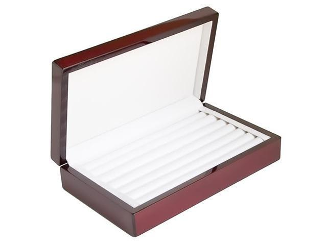 Rosewood Glossy Finish Jewelry Ring Case Display Storage Box With Ring Rows