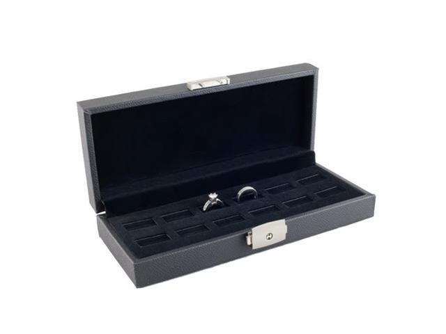 Wide Slot Jewelry Ring Display Storage Case Holds 12 Rings With Lock