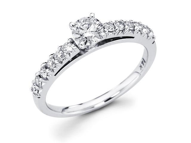 14k White Gold Solitaire Round Diamond Engagement Ring w/ Channel Set Diamond Side Stones (3/4 cttw, 2/5 ct Center, G-H Color, SI1 Clarity)