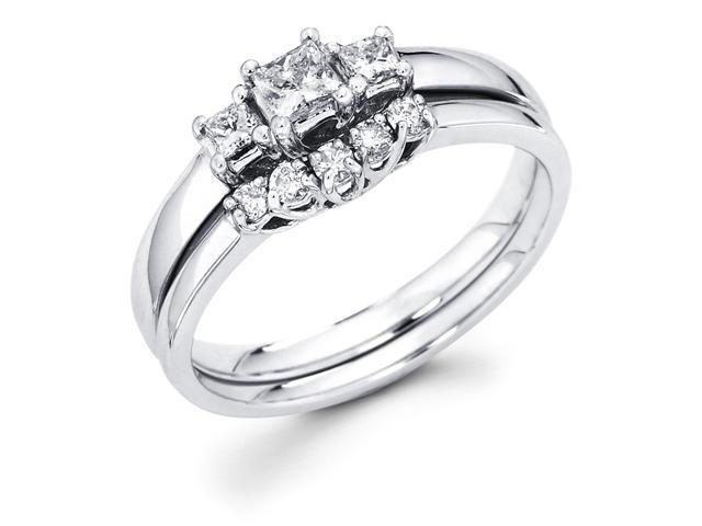 14k White Gold Three 3 Stone Princess Cut Diamond Engagement Anniversary 2 Ring Set w/ Matching 5 Round Diamond Wedding Band (.45 cttw, G-H Color, SI1 Clarity)