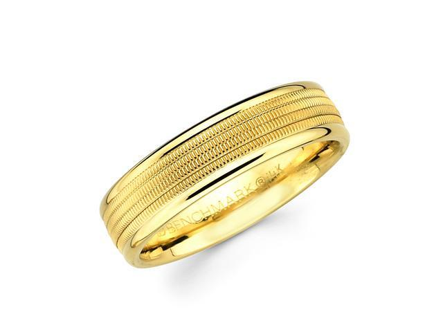 Solid 14k Yellow Gold Ladies Mens Milgrain Middle High Polish Ends Wedding Ring Band 6MM Size 9.5