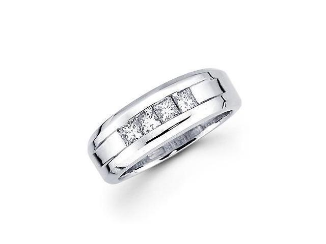 14k White Gold Princess Cut Ladies Womens Diamond Wedding Ring .53 ct (G-H Color, SI1 Clarity)