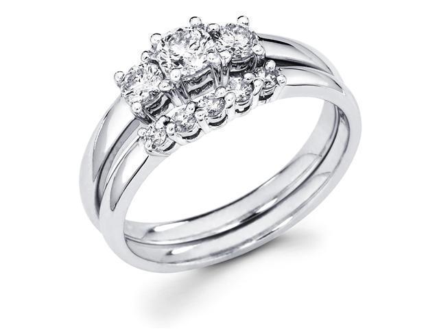 14k White Gold Three 3 Stone Round Diamond Engagement Anniversary 2 Ring Set w/ Matching 5 Stone Diamond Wedding Band (2/3 cttw, G-H Color, SI1 Clarity)