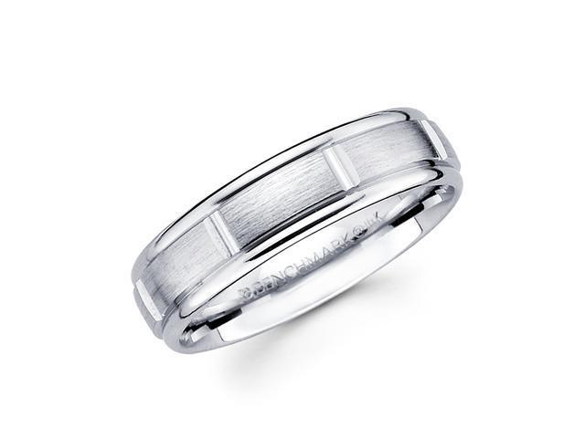 Solid 14k White Gold Ladies Mens Satin Brick Design Wedding Ring Band 6MM Size 9.5