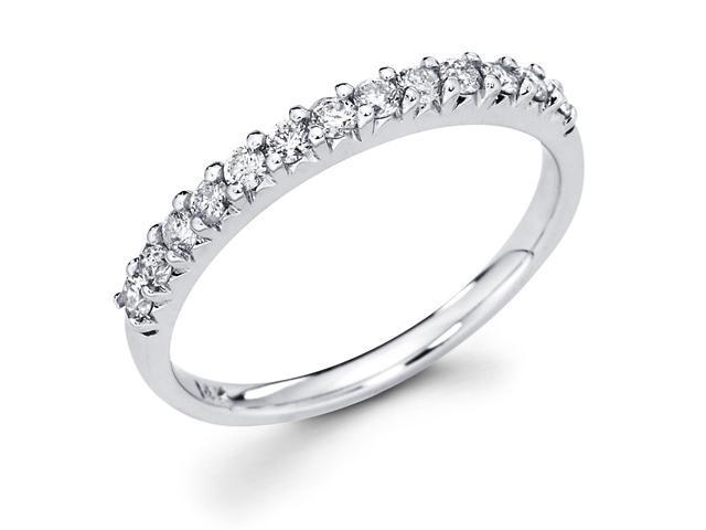 14k White Gold Channel Set 13 Round Diamond Wedding Anniversary 2.3mm Ring Band (3/8 cttw, G-H Color, SI1 Clarity)