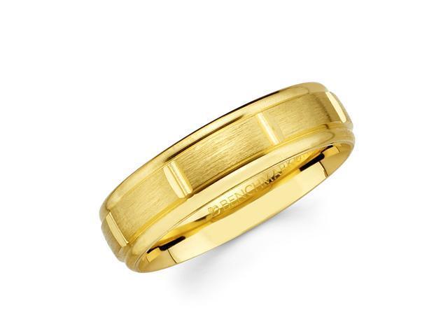 Solid 14k Yellow Gold Ladies Mens Satin Brick Design Wedding Ring Band 6MM Size 7.5